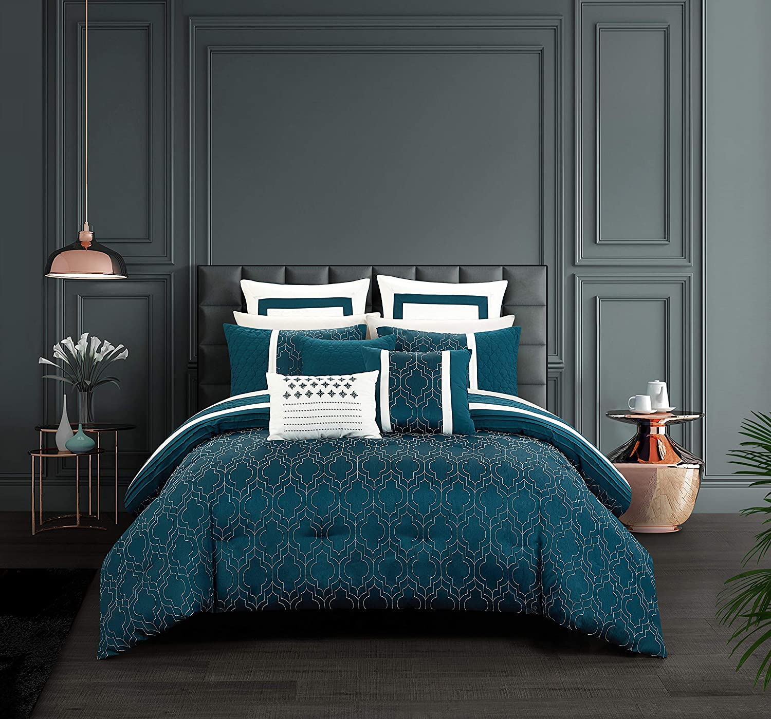 Chic Home Arlow 8 Piece Comforter Set Jacquard Geometric Quilted Pattern Design Bedding - Decorative Pillows Shams Included, King, Teal