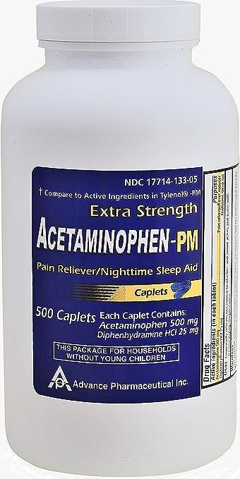 Acetaminophen Pm 500 Caplets Generic For Tylenol Pm Extra Strength Pain Reliever Fever Reducer Antihistamine Nighttime Sleep Aid Acetaminophen 500