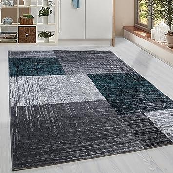 Amazon.de: Moderner Kurzflor Guenstige Teppich Vintage Karo ...