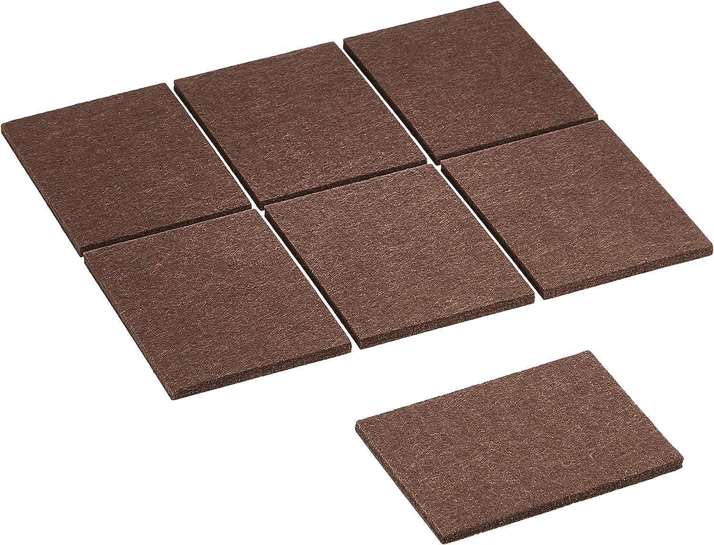 AmazonBasics Felt Furniture Pads - 3'' x 4'' Square, Brown, 24-Pack