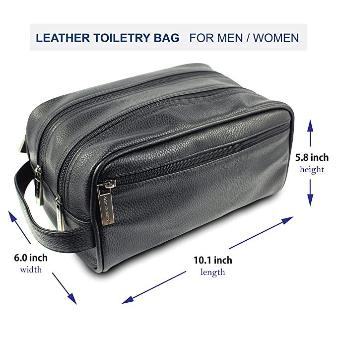 22e3c5d688 Karl   Jacob Handcrafted PU Leather Toiletry Bag Men Dopp Kit Portable  Travel Organizer-Four Zip Pockets   Two Zip Compartments  Amazon.ca  Luggage    Bags
