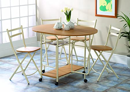 Folding Dining Table And Chairs: Dining Table With Storage Space For Four  Dining Chairs: