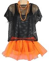 Neon Mesh Top 80's Fancy Dress Fishnet Top