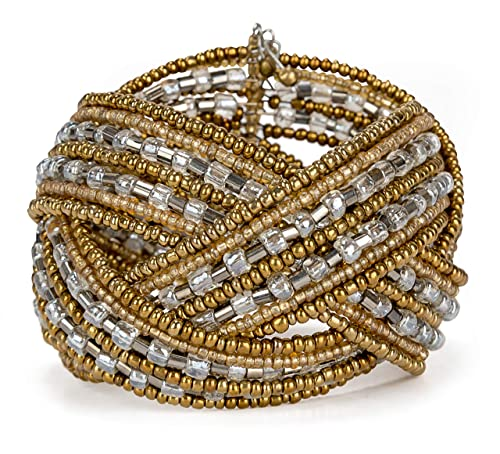ef3852cdb92 SPUNKYsoul Gold, Transparent, and Gunmetal Seed Bead Braided Bangle Cuff  Bracelet for Women (