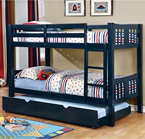 Furniture of America Pello 2-piece Twin over Twin Bunk Bed with Trundle Blue