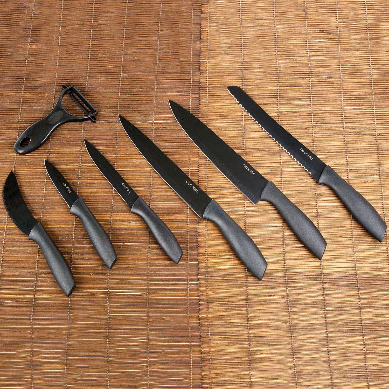Cecotec Juego de 7 Cuchillos Profesionales con Recubrimiento cerámico. Cuchillos Titanium