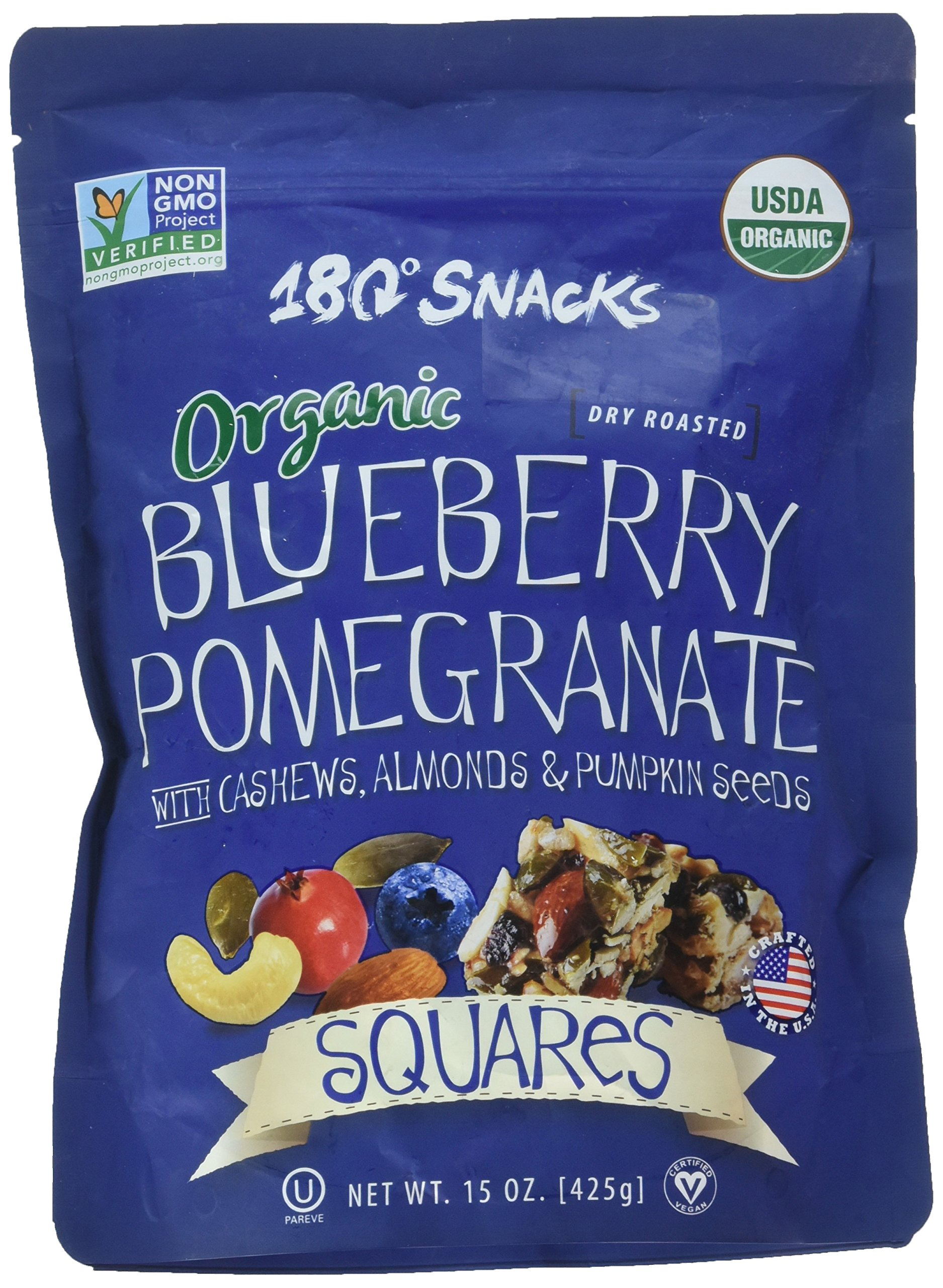 180 Snacks Organic Blueberry Pomegranate with Cashews, Almonds & Pumpkin  Seeds Squares -15 oz