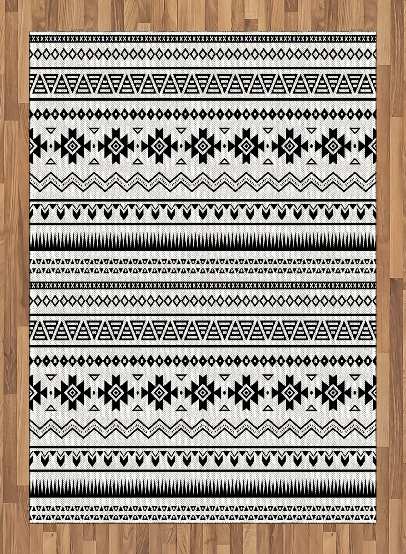 Native American Area Rug by Ambesonne, Aztec American Folkloric Art Borders Ancient Tribal South America Culture, Flat Woven Accent Rug for Living Room Bedroom Dining Room, 5.2 x 7.5 FT, Black White by Ambesonne