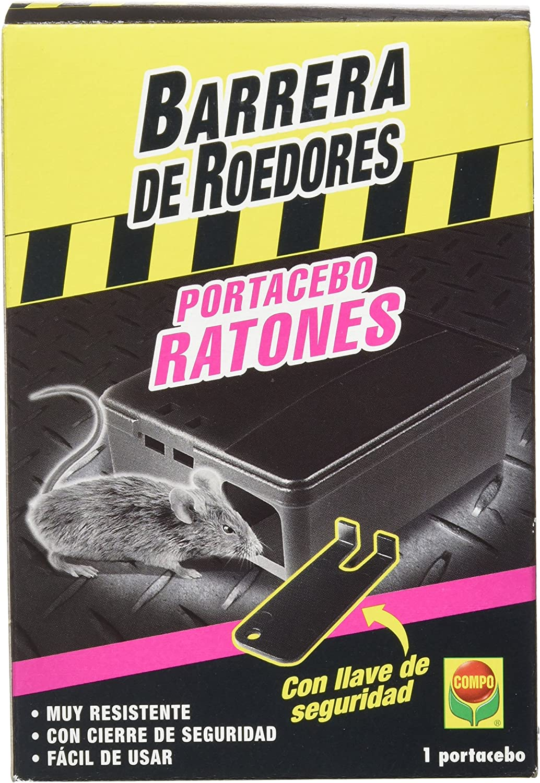 Compo Repelente Barrera Caja portacebos para Ratones, para Colocar cebos para roedores, Plástico, Negro, 13x5x9 cm
