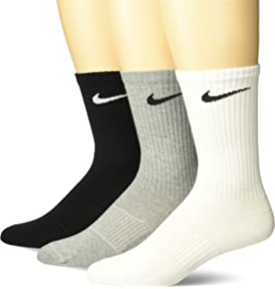 NIKE Mens Lightweight Crew Socks (Pack of 3), White/Grey/Black