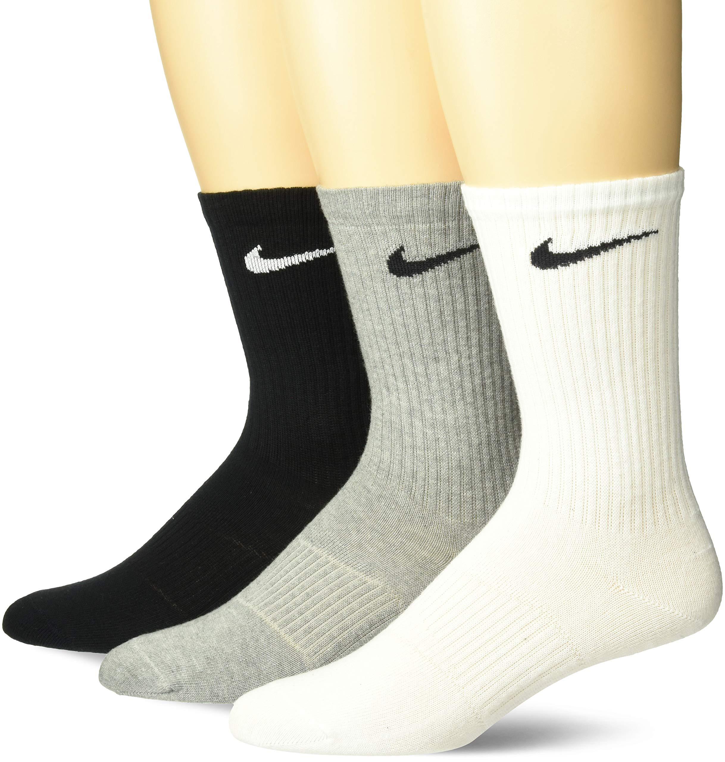 NIKE Men's Lightweight Crew Socks (Pack of 3), White/Grey/Black, Medium by Nike