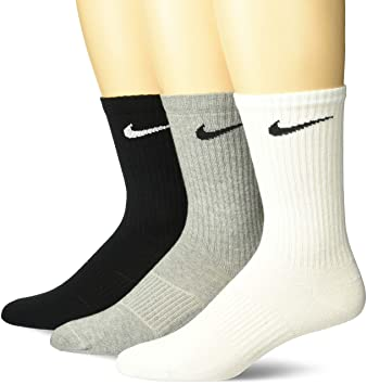 the latest 758b1 06e96 Nike Unisex Trainingssocken 3 Paar Lightweight Crew, Mehrfarbig (Grey  Heather White Black