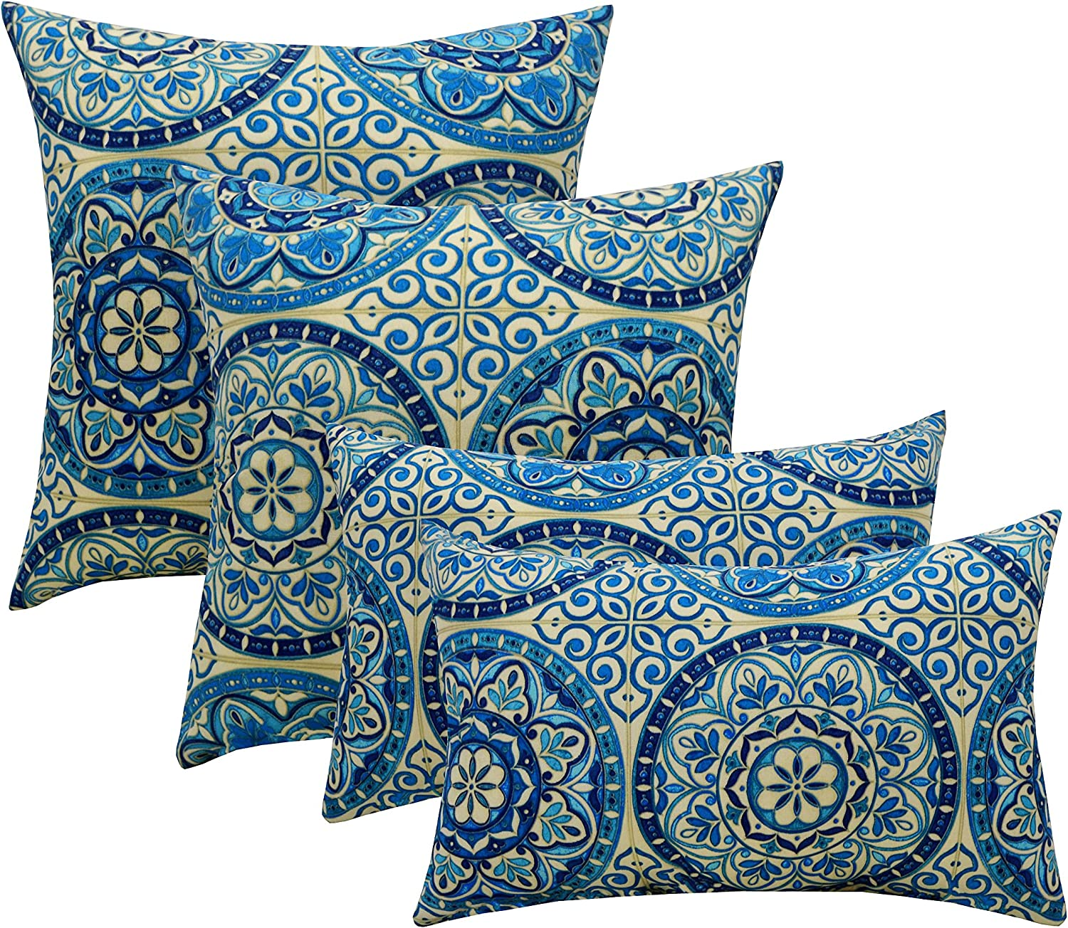 Frontgate Outdoor Yard Patio Pool Throw Pillow Brown Blue White Red Hourglass 20