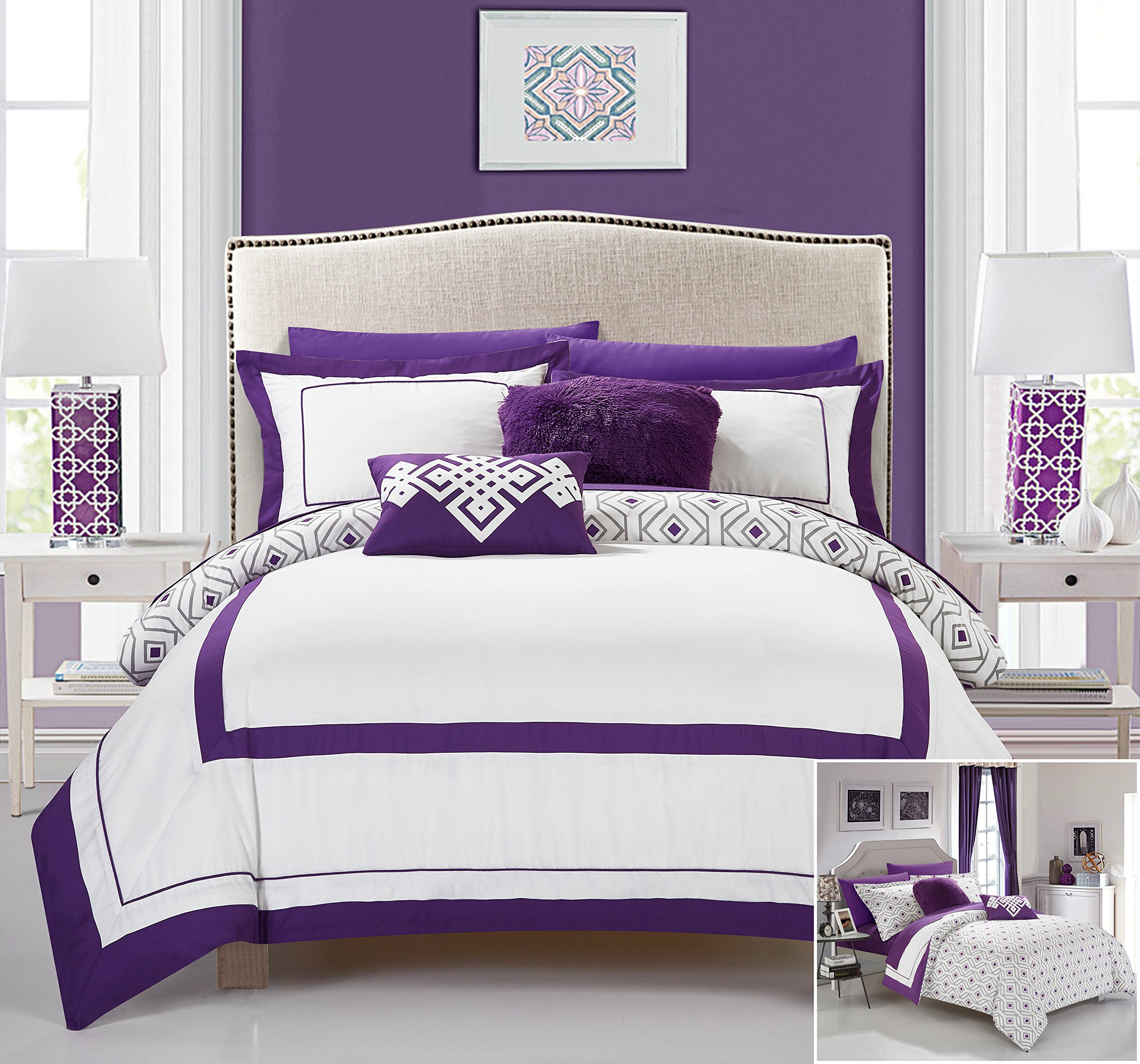 Chic Home 7 Piece Joselito Contemprary geometric reversible Bold Lines hotel collection bed in bag, luxury decor pillows included Twin Comforter Set Purple
