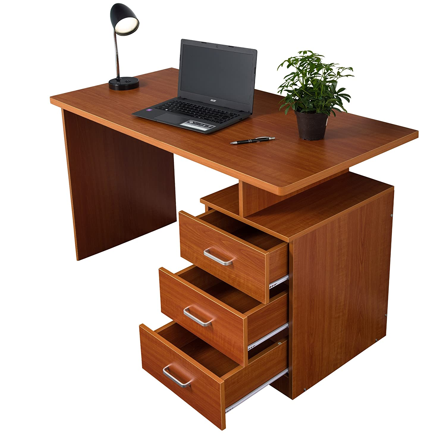 table home uk shelves beech dp computer co redstone drawers workstation amazon office kitchen desk