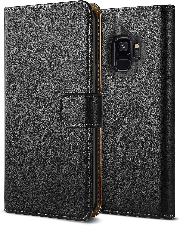 HOOMIL Funda para Samsung S9, Funda para Galaxy S9, Funda de Cuero PU Premium Carcasa para Samsung Galaxy S9 Smartphone (Negro)