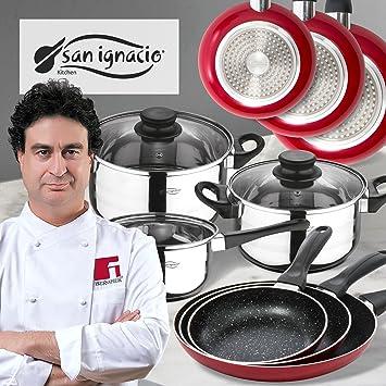 San Ignacio PK357 batería de Cocina 5 Piezas y Juego de sartenes en Rojo, Cromado: Amazon.es: Hogar