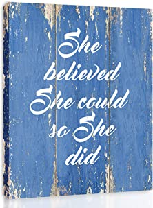 She Believed She Could So She Did - FRAMED - Quote Motivational Wall Art Canvas Print Home Decor, Gallery Wrap Inner Frame, Blue, 7x9