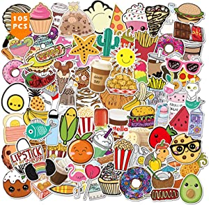 Food Stickers 105PCS Kawaii Ice Cream Donuts Pizza Bread Coffee Art Prints Decals of Cute Snacks for Kids Vinyl Decors for Backpack Laptop Water Bottle Skateboard Luggage Guitar