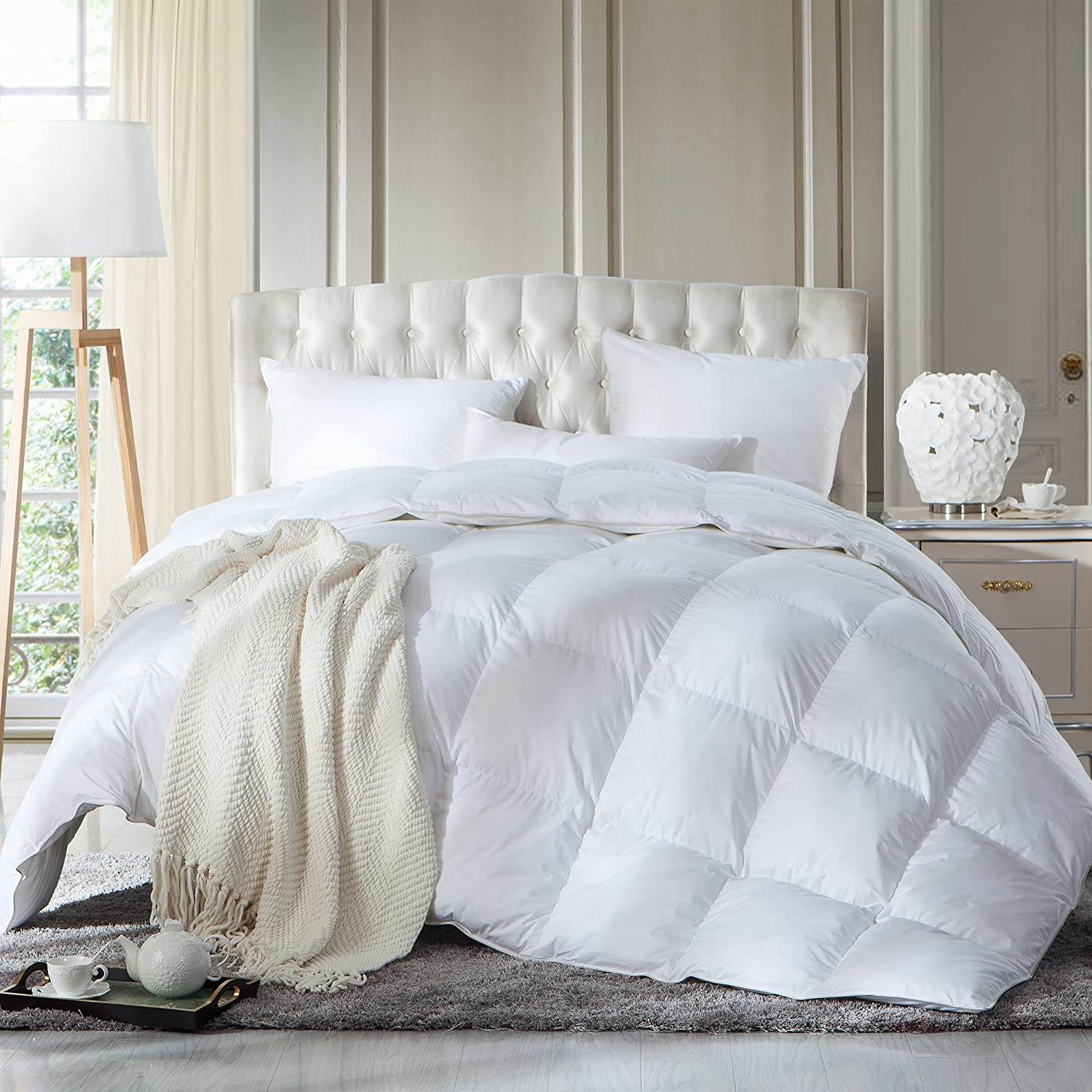 LUXURIOUS FULL / QUEEN Size Siberian GOOSE DOWN Comforter, Duvet Insert, 1200 Thread Count 100% Egyptian Cotton White Solid