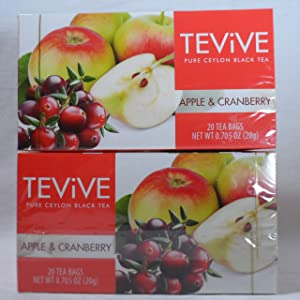 TEViVE APPLE & CRANBERRY Pure Ceylon Black Tea 20 Tea Bags (2 Pack)