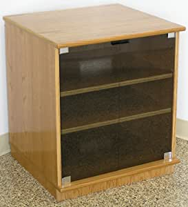 Amazon.com: Oak Stereo Cabinet with Gray Tint Glass Doors ...