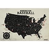 GEOJANGO Baseball Stadium Map Poster - Vintage Edition (24Wx16H inches)