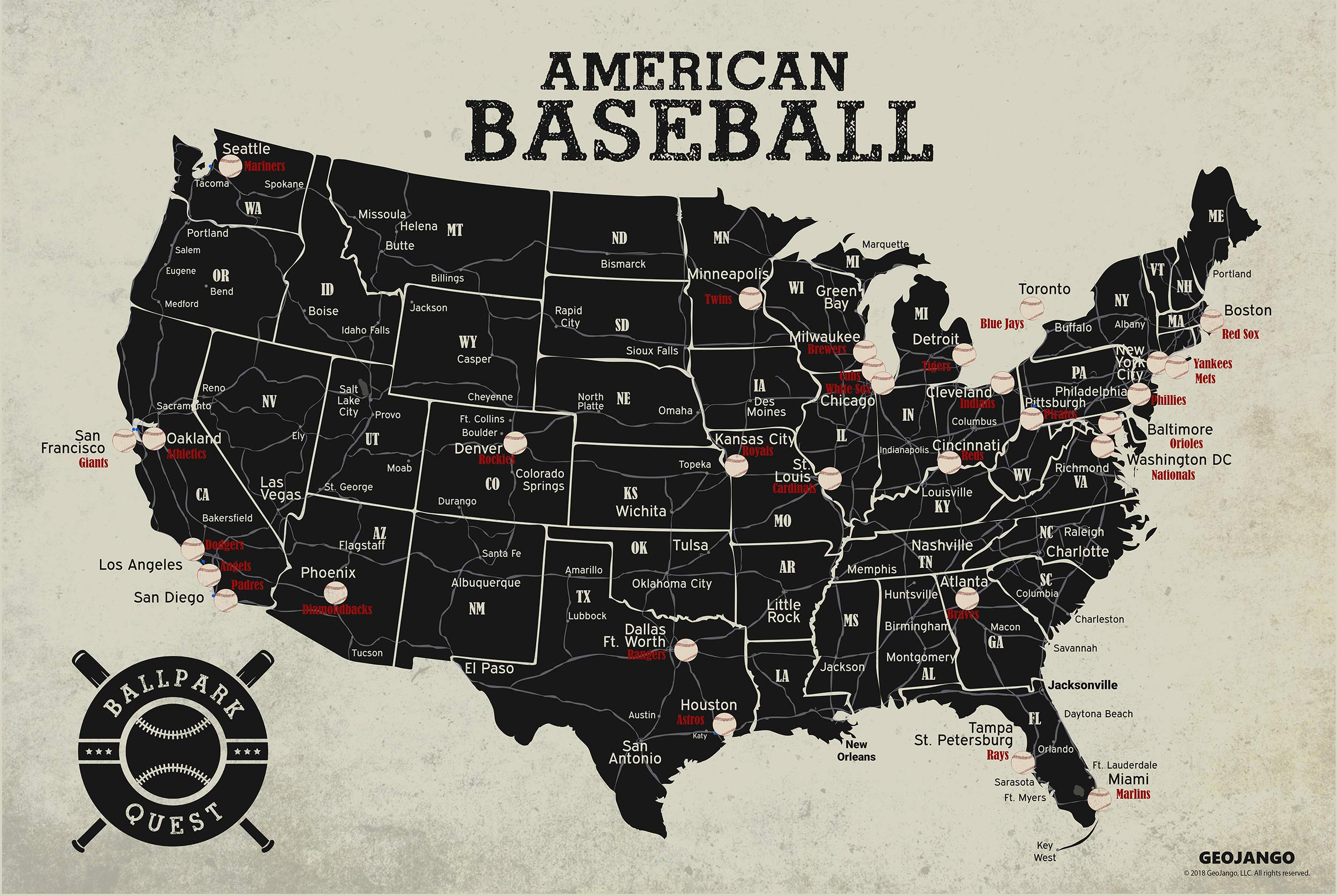 GeoJango Baseball Stadium Map Poster - Vintage Edition (24Wx16H inches) by GeoJango