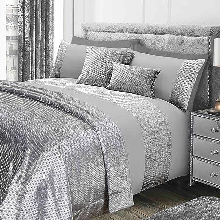 sienna glitter duvet cover with pillow case sparkle glitz velvet bedding set grey silver - Velvet Bedding