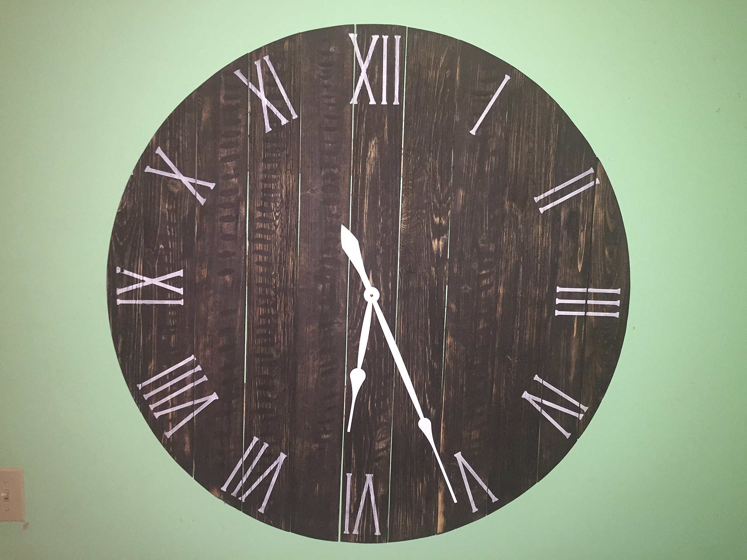 Handmade Large Rustic Wall Clock -40'' diameter made of real wood add elegant old time feel to the reclaimed wood