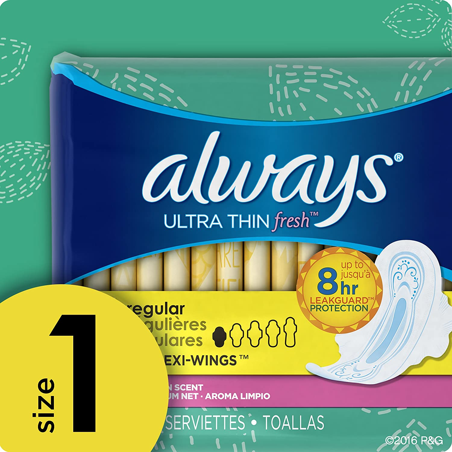 Siempre Ultra Thin Normal con Alas limpio aroma almohadillas 32 Count (Pack de 2): Amazon.es: Salud y cuidado personal