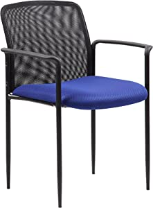 Boss Office Products Stackable Mesh Guest Chair in Blue