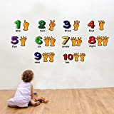 Paper Plane Design 1,2,3,4 Number Kids Wall Sticker(Pvc Vinyl,60Cm X110Cm)