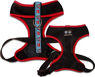 product image for BESSIE AND BARNIE Air Comfort Harness for Pets, Black/Doggie Dials/Red