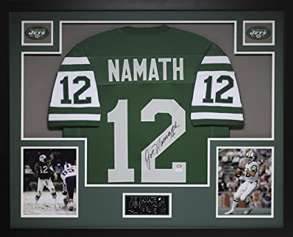 bed8acb3a6a Joe Namath Autographed Green Jets Jersey - Beautifully Matted and Framed -  Hand Signed By Joe