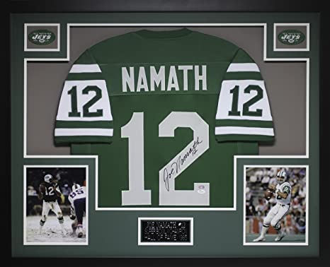 d07d6f135 Joe Namath Autographed Green Jets Jersey - Beautifully Matted and Framed -  Hand Signed By Joe