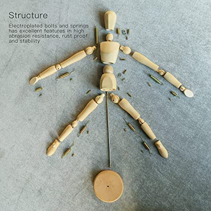 DEZIINE Wooden Human Art posable Drawing Flexible Joints