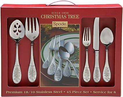 Amazon.com | Spode Christmas Tree 45-Piece Flatware Set: Spode ...