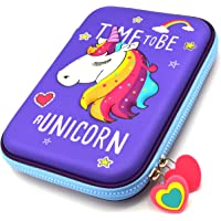 INFInxt Cute Unicorn Embossed Hardtop Pencil Pen Holder Case Box with Compartments - Girls Cosmetic Pouch Bag, Stationery Organizer (Purple)