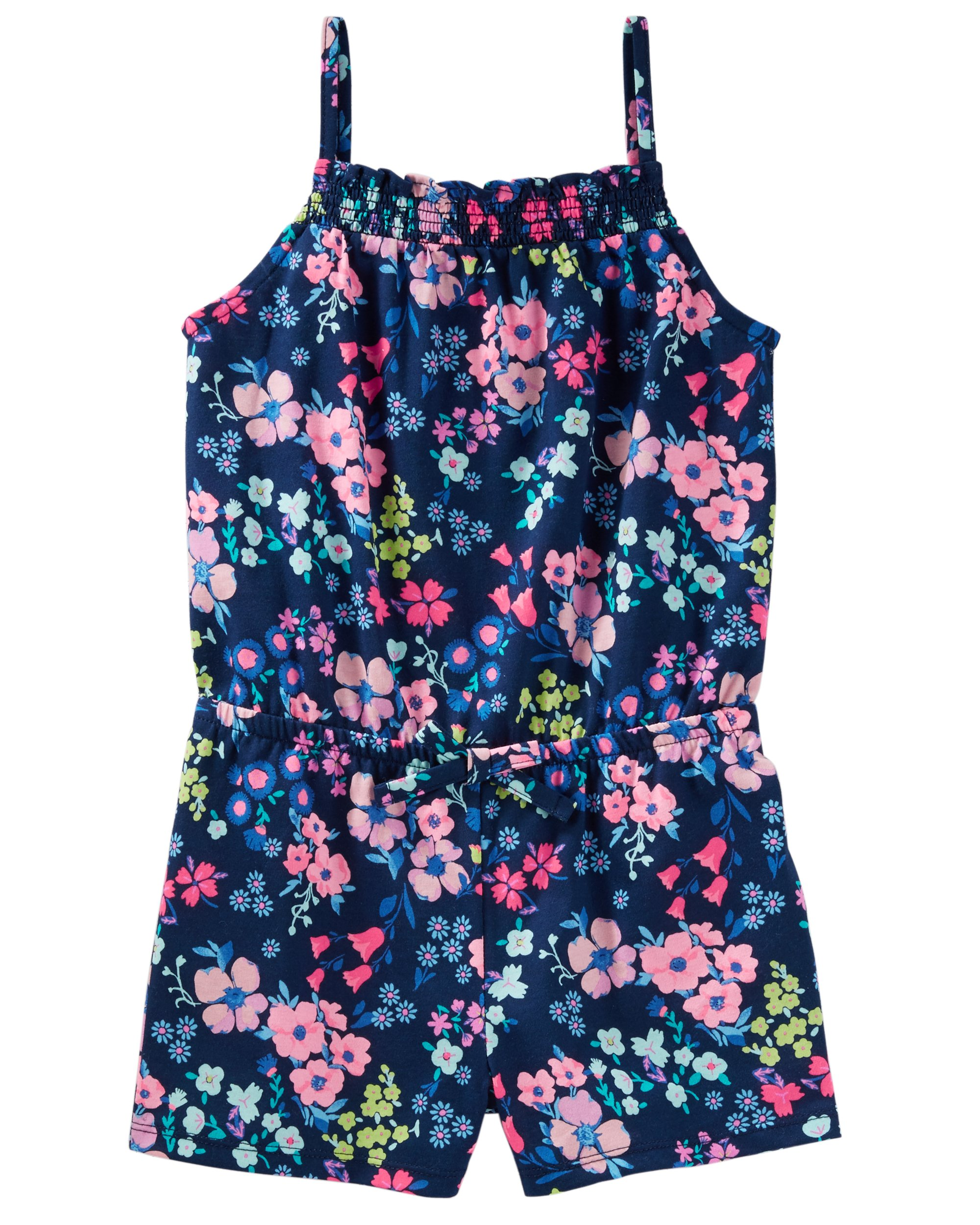 Osh Kosh Girls' Kids Sleeveless Romper, Navy Floral, 6-6X