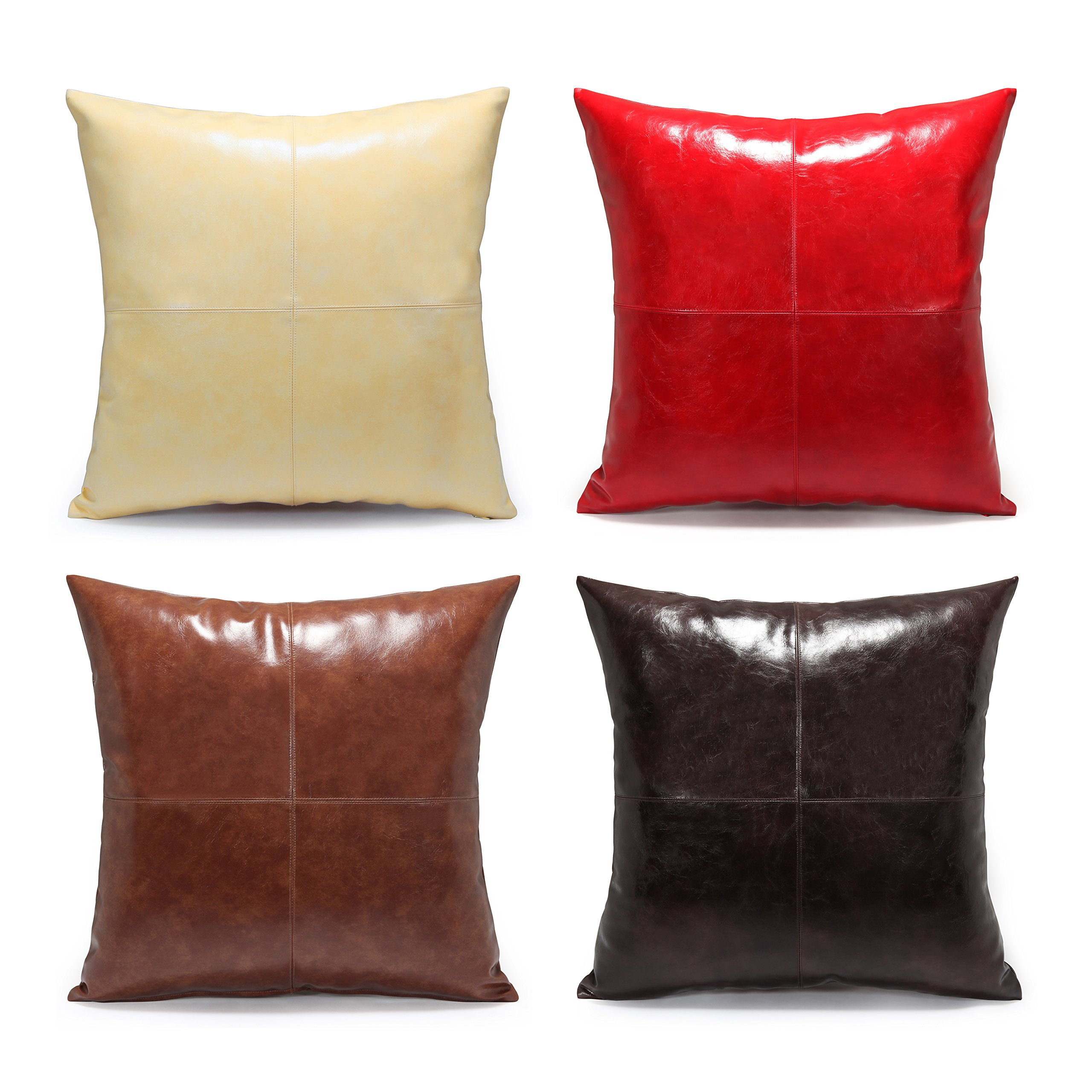 Acanva Decorative Accent Throw Pillow Faux Leather Cushion with Pillowcase Cover Sham and Insert Filling, Solid Color, Set of 4