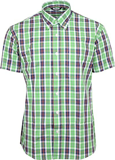 97a6dfb87 Relco Mens Light Green Tartan Check Short Sleeved Shirt Mod Skin Retro  Indie, S: Amazon.co.uk: Clothing