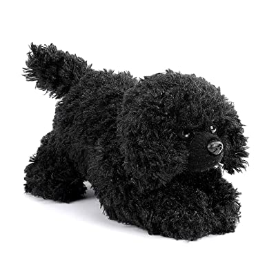 DEMDACO Poodle Stuffed Dog Curly Fuzzy Black 6 inch Plush Fabric Beanbag Figure Toy: Toys & Games