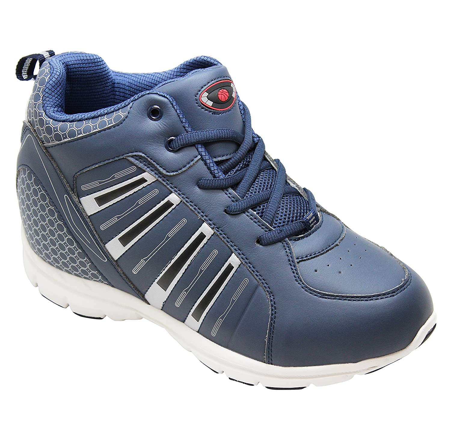 3443563c9b427 Calden Men's Invisible Height Increasing Elevator Shoes - Blue Leather  Lace-up Lightweight Sport Sneakers - 4 Inches Taller - K3333