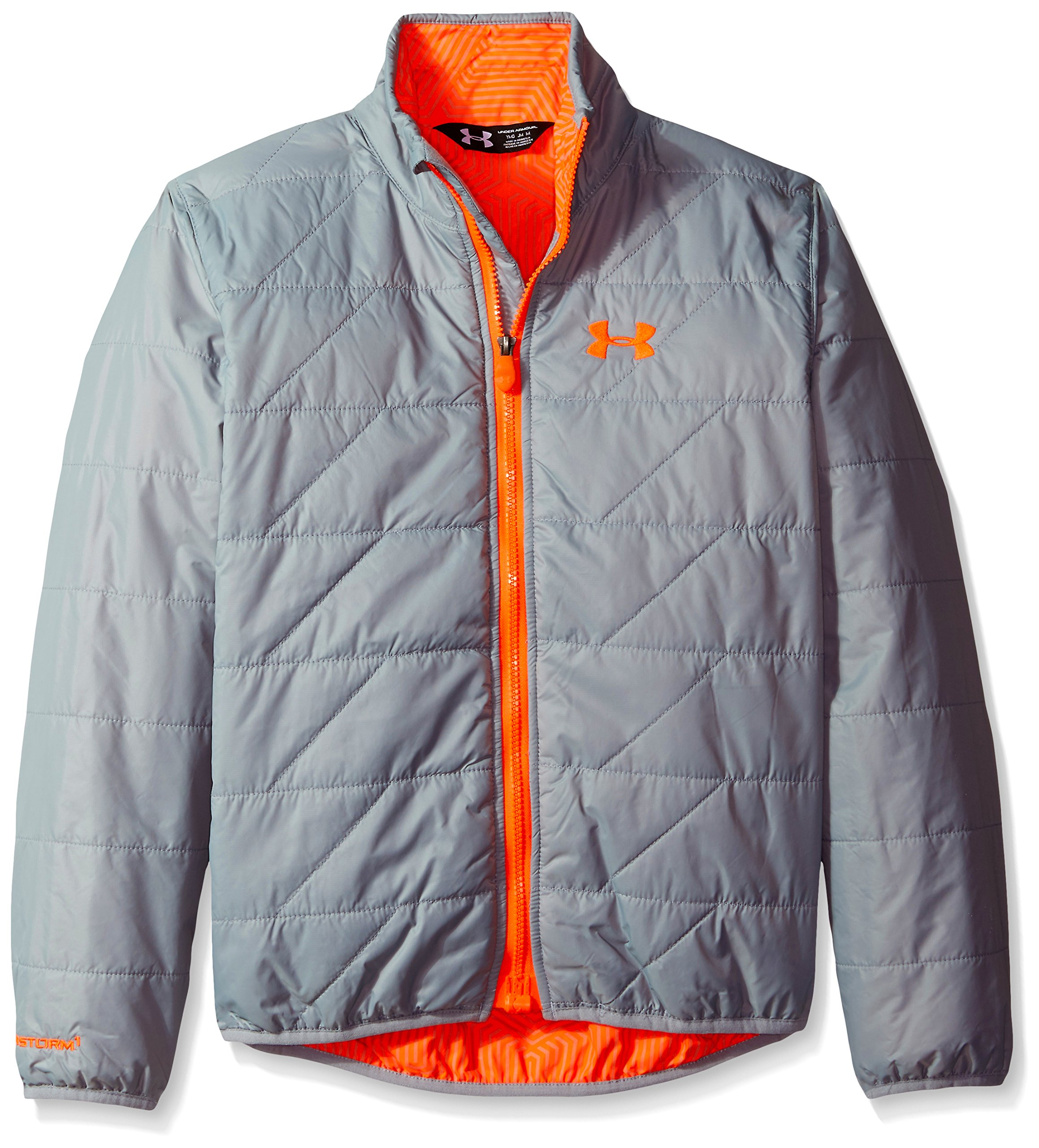 Under Armour Boys UA Micro Jacket (Big Kids), Steel (035)/Bolt Orange, Youth Small