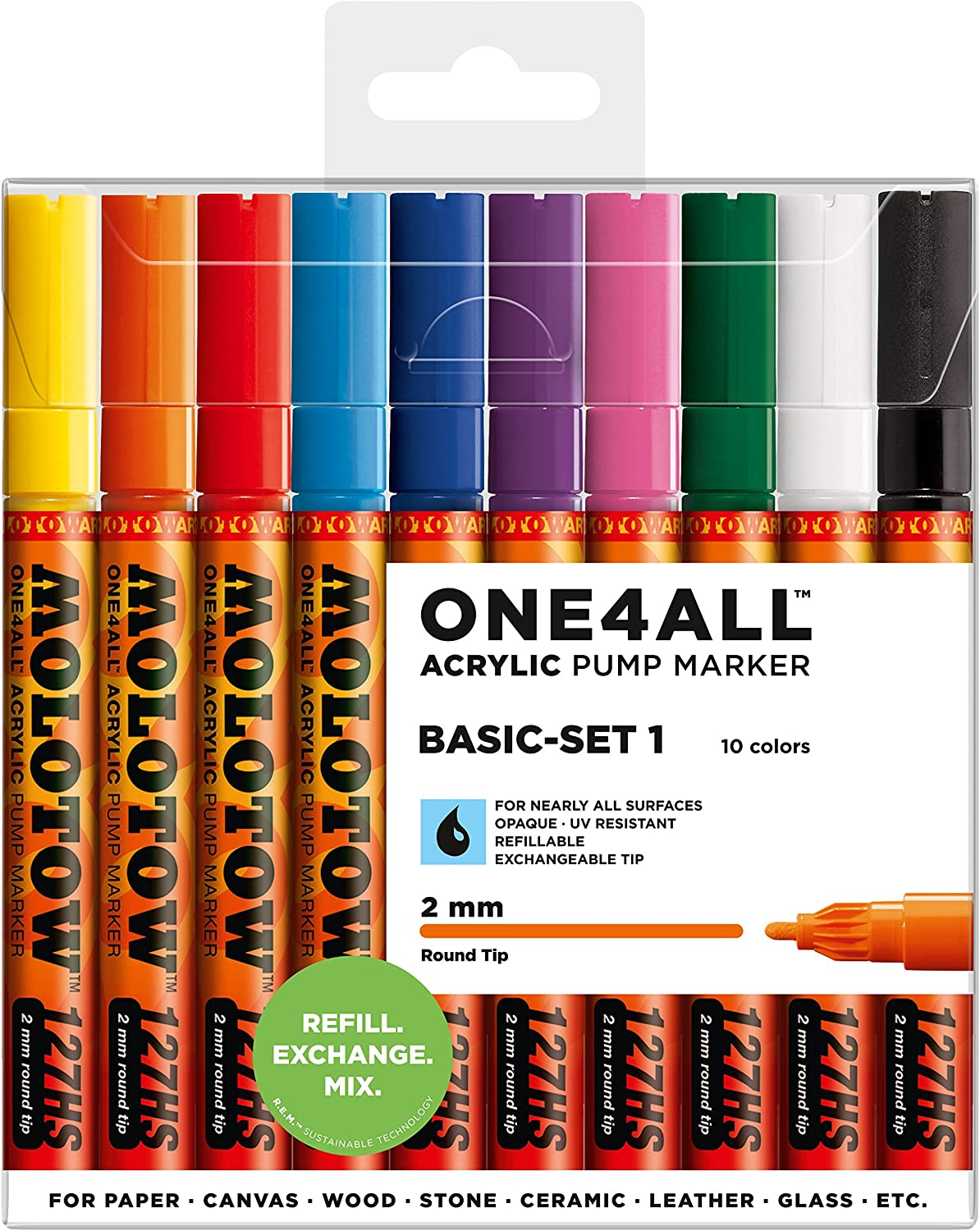 Molotow ONE4ALL Acrylic Paint Marker Set, 10 Basic Colors #1, 2mm (200.450)