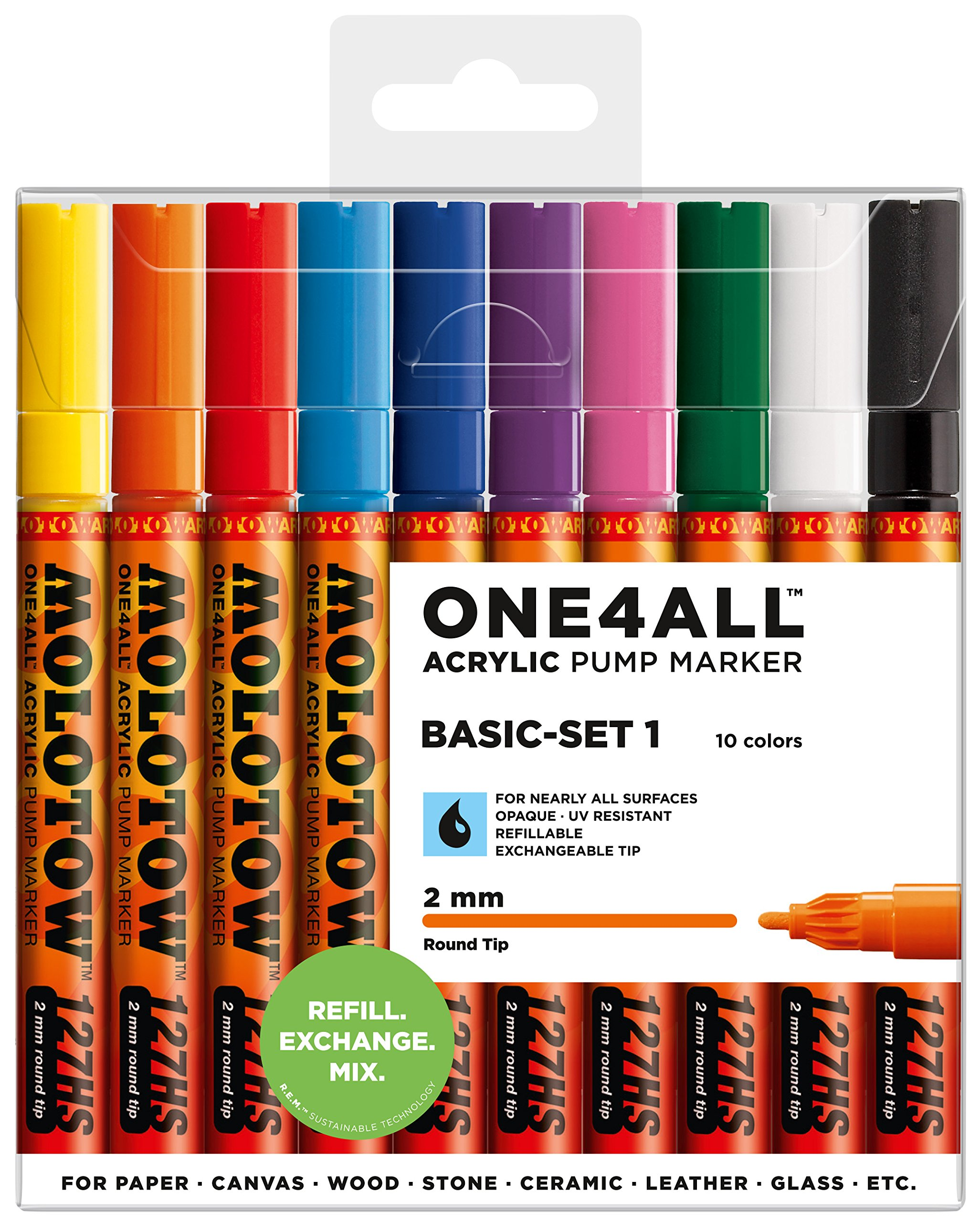 Molotow ONE4ALL Acrylic Paint Marker Set, 10 Basic Colors #1, 2mm (200.450) by MOLOTOW