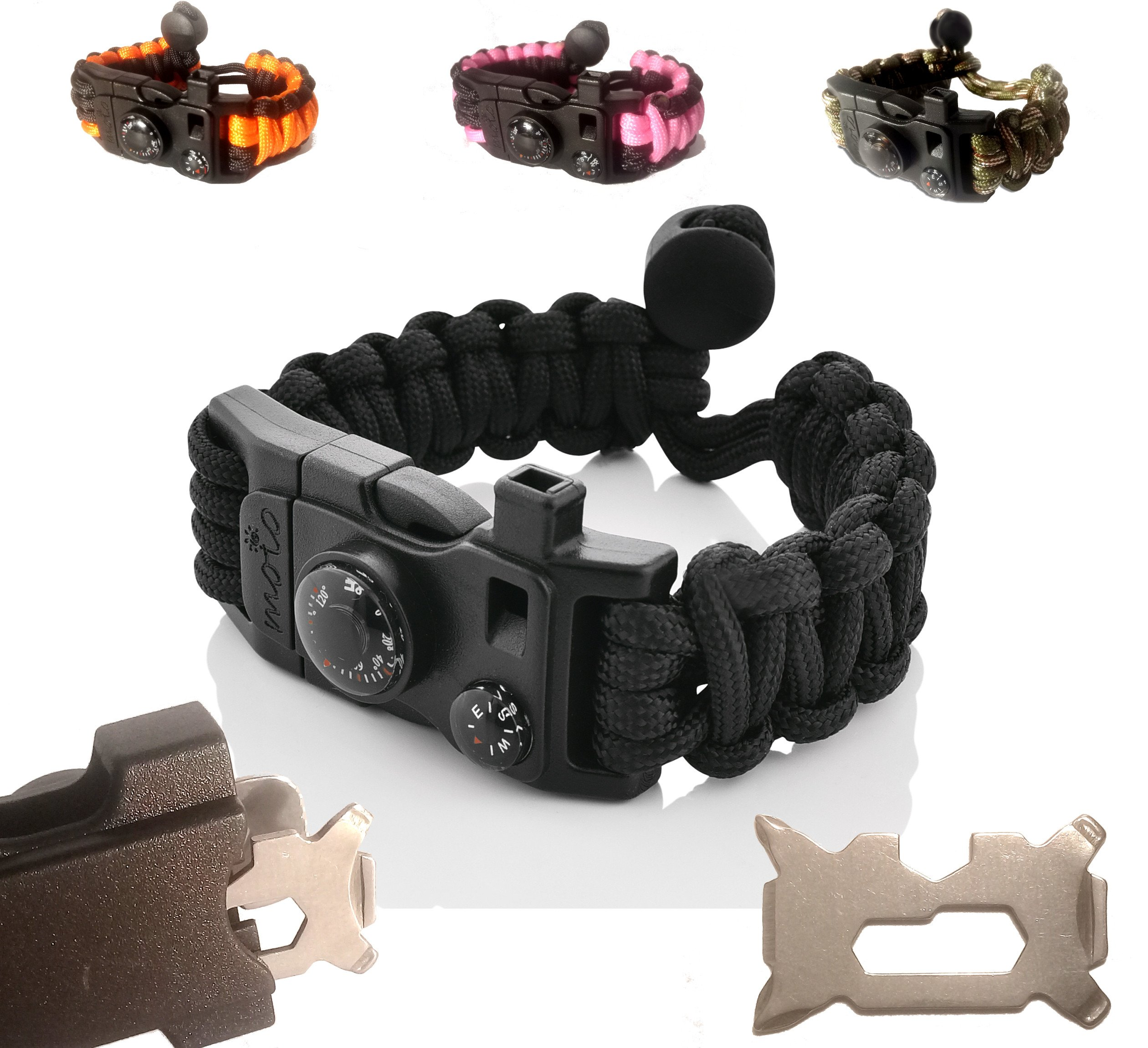 Paracord Bracelet - Survival Bracelet - Emergency Gear Men Women Kid Girl - MINI MULTI TOOL CARD - Scrapper - Whistle - Compass - Flint Fire Starter - Fahrenheit Thermometer - Hiking Camping