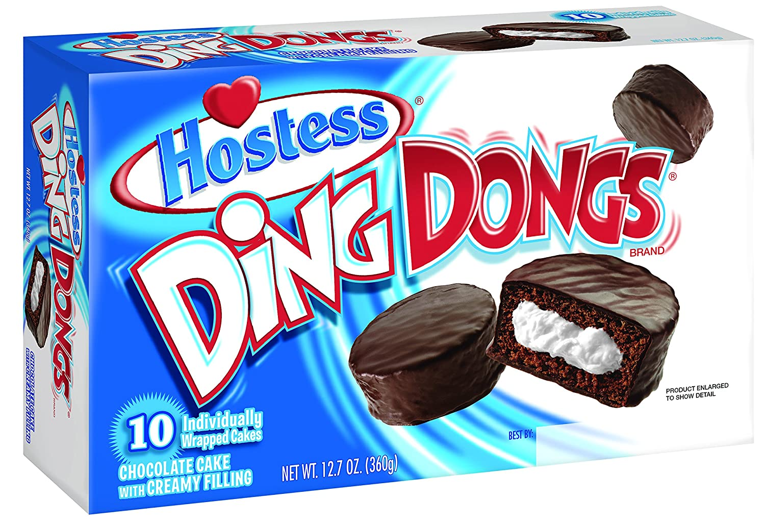 Hostess Ding Dongs, Original Chocolate, 10 Count (Pack of 6)