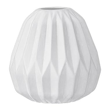 Bloomingville Small White Fluted Ceramic Vase